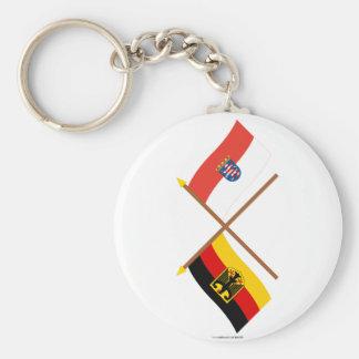 Deutschland und Hessen Flaggen, gekreuzt Keychain