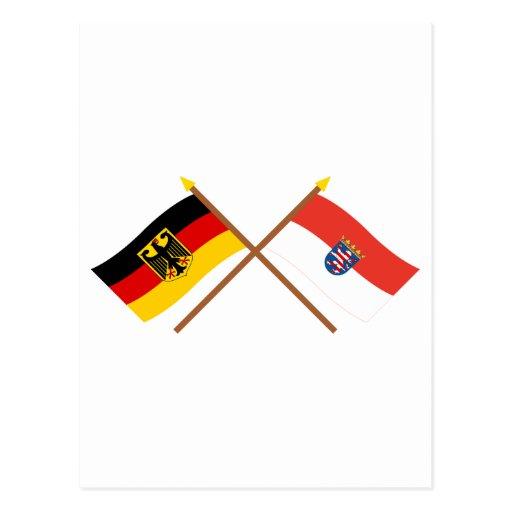 Deutschland und Hessen Flaggen, gekreuzt Post Card