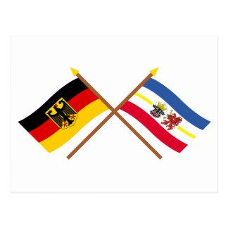 Deutschland und Mecklenburg-Vorpommern Flaggen Postcard