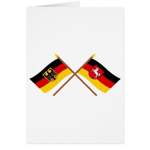 Deutschland und Niedersachsen Flaggen, gekreuzt Card