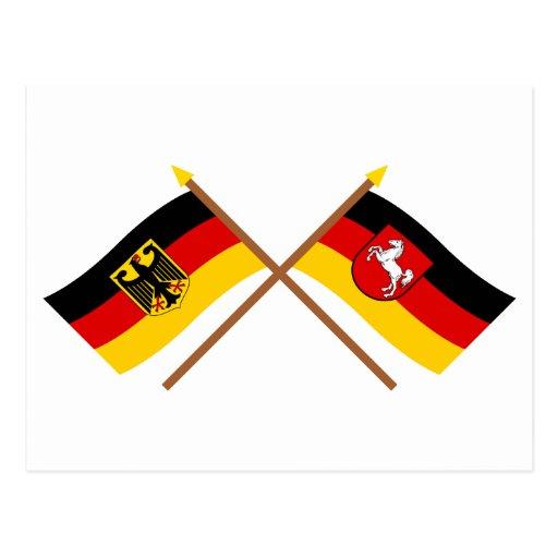 Deutschland und Niedersachsen Flaggen, gekreuzt Postcard