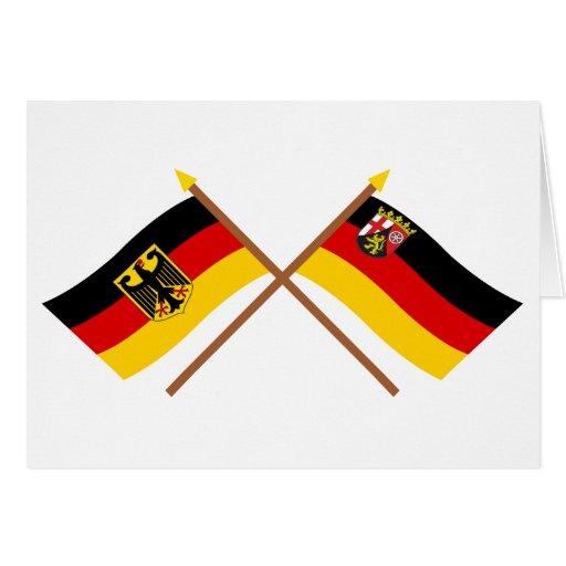 Deutschland und Rheinland-Pfalz Flaggen, gekreuzt Greeting Card