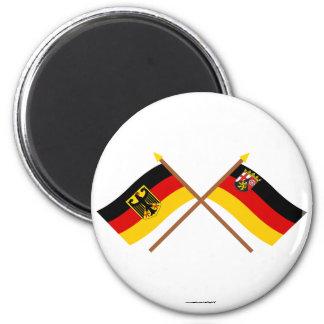 Deutschland und Rheinland-Pfalz Flaggen, gekreuzt Magnets