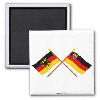 Deutschland und Rheinland-Pfalz Flaggen, gekreuzt Magnet