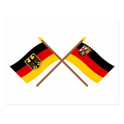 Deutschland und Rheinland-Pfalz Flaggen, gekreuzt Postcard