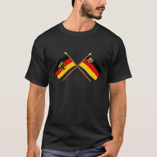 Deutschland und Rheinland-Pfalz Flaggen, gekreuzt T-Shirt