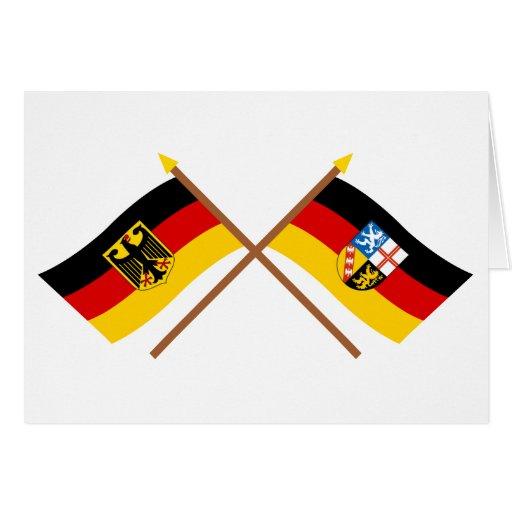 Deutschland und Saarland Flaggen, gekreuzt Card