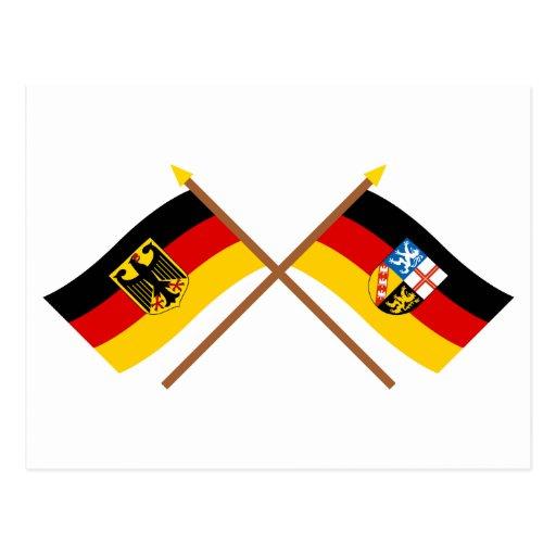 Deutschland und Saarland Flaggen, gekreuzt Post Cards