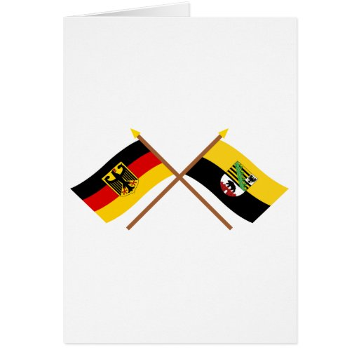 Deutschland und Sachsen-Anhalt Flaggen, gekreuzt Greeting Card