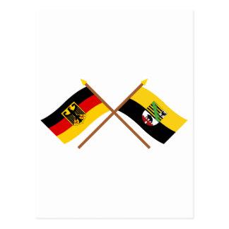 Deutschland und Sachsen-Anhalt Flaggen, gekreuzt Postcard