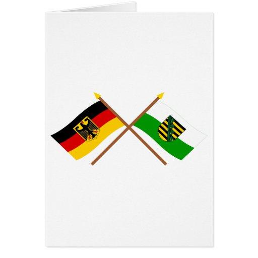Deutschland und Sachsen Flaggen, gekreuzt Greeting Cards