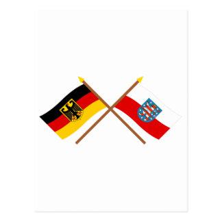 Deutschland und Thüringen Flaggen, gekreuzt Postcard