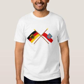 Deutschland und Thüringen Flaggen, gekreuzt Tee Shirt