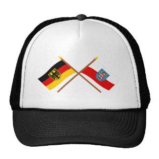 Deutschland und Thüringen Flaggen, gekreuzt Trucker Hat