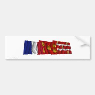 Deux-Sèvres, Poitou-Charentes & France flags Bumper Stickers