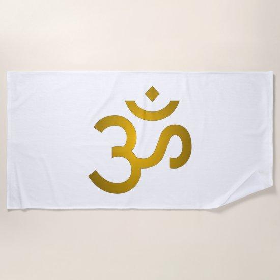 Devanagari Om - White Beach Towel