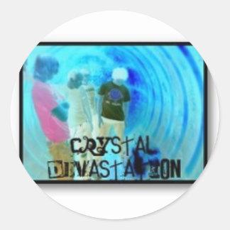Devastación cristalina pegatina redonda