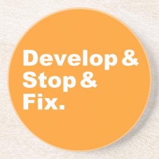 Develop & Stop & Fix Coaster (white text)