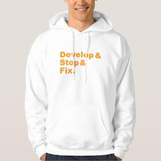 Develop & Stop & Fix Hoodie (orange text)