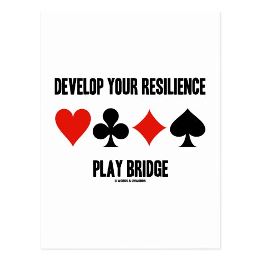 Develop Your Resilience Play Bridge (Card Suits) Postcard