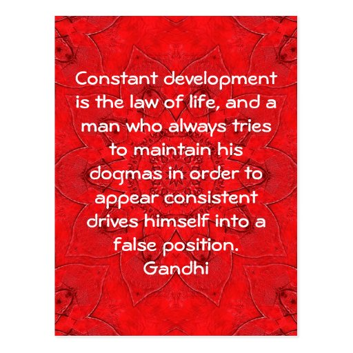 Development Is The Law Of Life Gandhi Wisdom Quote Postcards