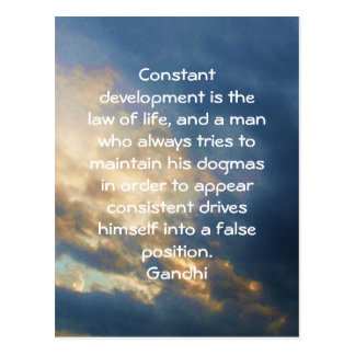 Development Is The Law Of Life Gandhi Wisdom Quote Postcard