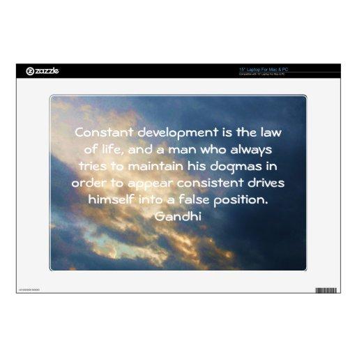Development Is The Law Of Life Gandhi Wisdom Quote Laptop Skin