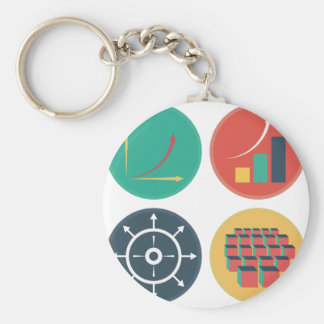 Development of Exponential Growth Icons Basic Round Button Keychain