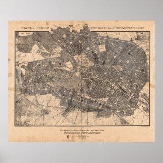 Development Plan Map of Berlin Germany in 1862 Poster