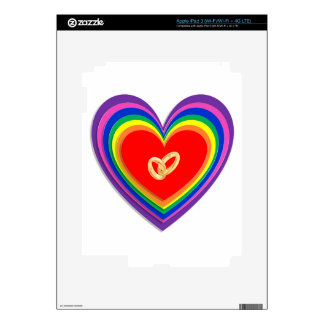 Device Skin With Rainbow Hearts and Wedding Rings Skins For iPad 3