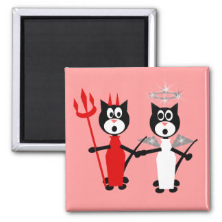 Devil and Angel Cats Magnet