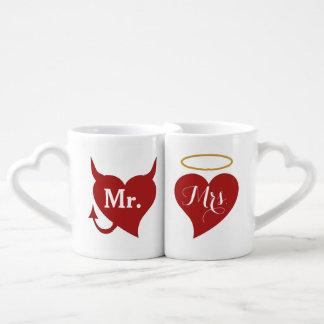 Devil and Angel Hearts Couples Mug Set