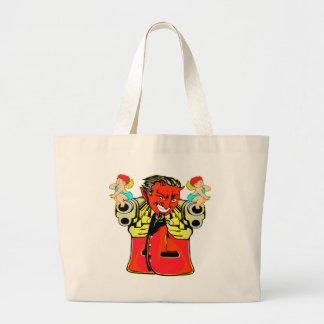 Devil, Angel & Guns Tattoo Large Tote Bag