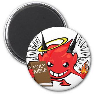 devil / angel smiley face magnet