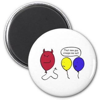 Devil Balloon Person 2 Inch Round Magnet