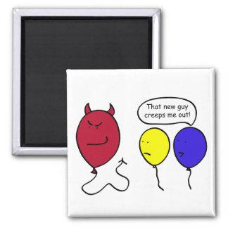 Devil Balloon Person 2 Inch Square Magnet
