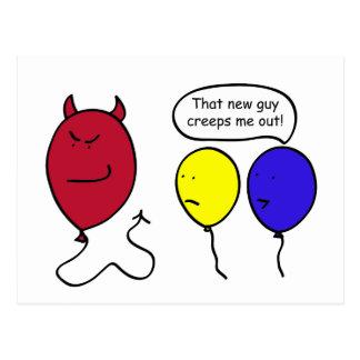 Devil Balloon Person Postcard