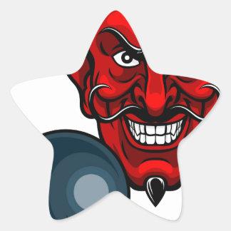 Devil Bowling Sports Mascot Star Sticker