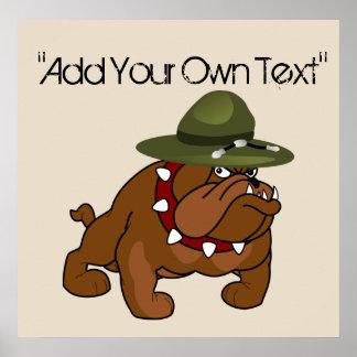 Devil Bull Dog Full Body (Add Your Own Text) Poster