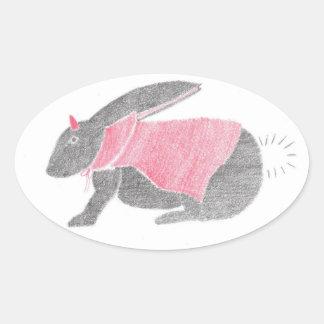 Devil Bunny Oval Sticker