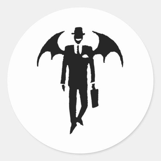 devil businessman classic round sticker