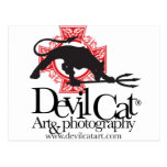 Devil Cat Art Postcard
