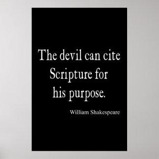 Devil Cite Scripture His Purpose Shakespeare Quote Posters