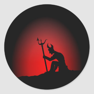 Devil Contemplating Classic Round Sticker