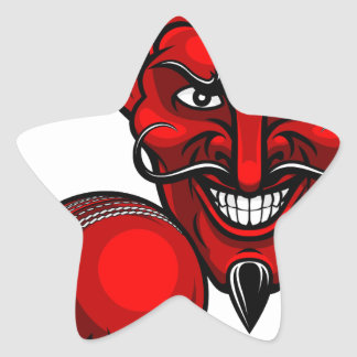 Devil Cricket Sports Mascot Star Sticker
