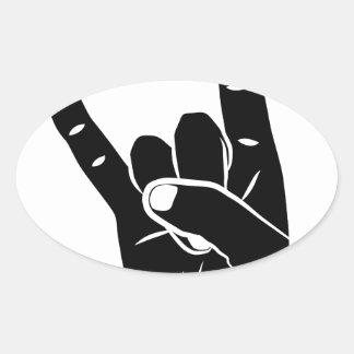 Devil cuerno sign language pictogram for rock pegatina ovalada