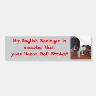 DEVIL DOG 007, My English Springer is smarter t... Car Bumper Sticker