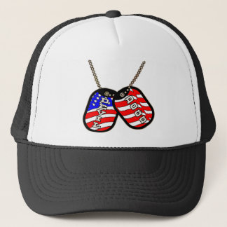 Devil Dogs American Flag Dog Tags Trucker Hat