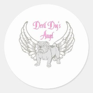 DEVIL DOG'S ANGEL CLASSIC ROUND STICKER