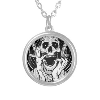 devil face silver plated necklace